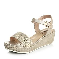Teenmix/天美意2015夏季金色布纹羊皮(马安带)女凉鞋168-2BL5
