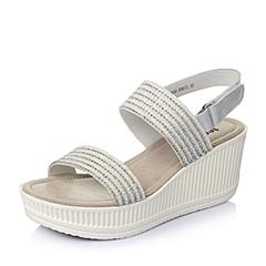 Teenmix/天美意夏季专柜同款银色牛皮/织物女凉鞋AK49DBL5