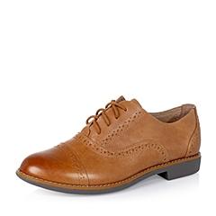 【APP专享】Teenmix/天美意秋季专柜同款棕擦色牛皮革女单鞋6RY21CM5