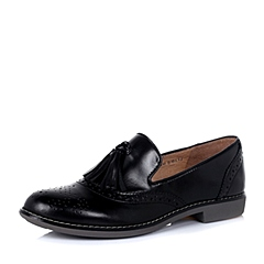 Teenmix/天美意秋季专柜同款黑打蜡牛皮革女单鞋6RY22CM5