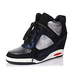 Teenmix/天美意秋季专柜同款黑/银灰/深兰女单鞋6WI27CM5