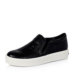 Teenmix/天美意秋季专柜同款黑色绵羊皮女单鞋6WG24CM5