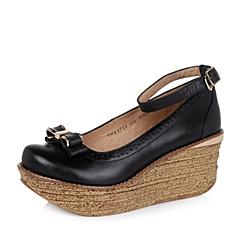 Teenmix/天美意秋季专柜同款黑色牛皮女单鞋6YF11CQ5