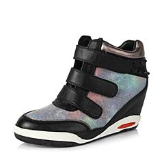 Teenmix/天美意秋季专柜同款黑/兰绿/深灰色牛皮/织物女单鞋6WI26CM5