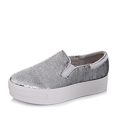 Teenmix/天美意秋季专柜同款银色亮片布/牛皮/PU女单鞋AL33DCM5