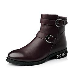 Teenmix/天美意冬季紫红牛皮女短靴6ZR40DD5