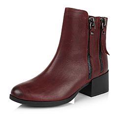 Teenmix/天美意冬季专柜同款酒红色打蜡牛皮革女皮靴6UY43DD5