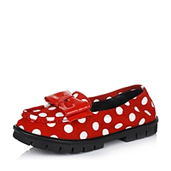 Teenmix/天美意秋季专柜同款红色羊绒皮/牛漆皮女单鞋YAK93CQ5