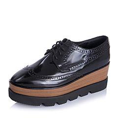 Teenmix/天美意秋季专柜同款黑色牛皮革女单鞋6D920CM5