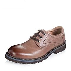Teenmix/天美意冬季专柜同款棕色油蜡牛皮男单鞋AUB01DM5