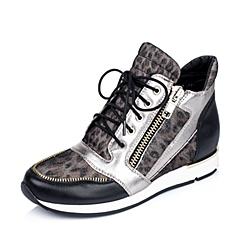 Teenmix/天美意专柜同款啡黑/黑/银灰色-猪皮革女单鞋6RU20CM5