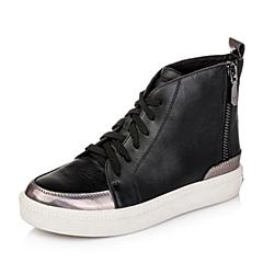 Teenmix/天美意冬季专柜同款黑/深灰色牛皮革女皮靴6WG41CD5