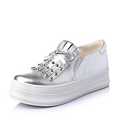 Teenmix/天美意2016春季银绵羊皮革时尚舒适厚底铆钉女单鞋L6H22AM6