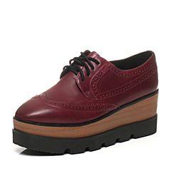 Teenmix/天美意春季专柜同款酒红色打蜡牛皮满帮女单鞋6D920AM6
