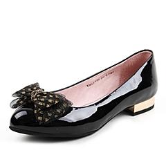 Teenmix/天美意春黑专柜同款漆皮牛皮女浅口鞋6ZV08AQ6