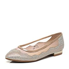 Teenmix/天美意春专柜同款金色羊皮/绒布/网布女鞋AM351AQ6