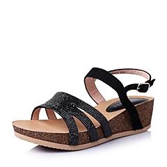 Teenmix/天美意夏季黑色山羊皮优雅时尚坡跟女凉鞋6YE03BL6
