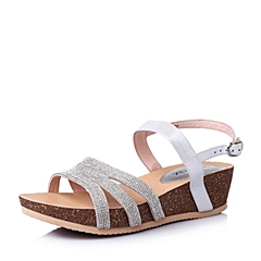 Teenmix/天美意夏季银/白色山羊皮优雅时尚坡跟女凉鞋6YE03BL6