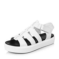 Teenmix/天美意夏季专柜同款白色牛皮女凉鞋6I901BL6