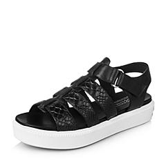 Teenmix/天美意夏季专柜同款黑色牛皮女凉鞋6I901BL6