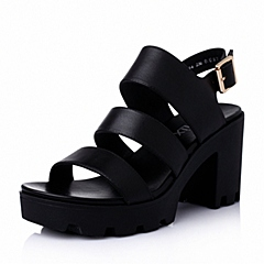 Teenmix/天美意夏季专柜同款黑-擦色牛皮革女皮凉鞋6K204BL6