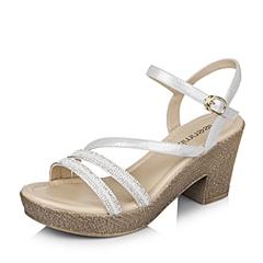 Teenmix/天美意夏专柜同款银/白山羊皮革粗跟女凉鞋6YB15BL6