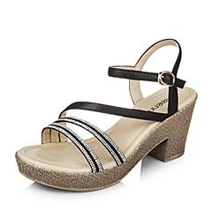 Teenmix/天美意夏黑色专柜同款山羊皮革粗跟女凉鞋6YB15BL6