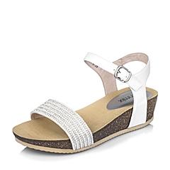 Teenmix/天美意夏季专柜同款白色绵羊皮革女皮凉鞋6YE10BL6