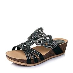 Teenmix/天美意夏季黑色时尚布坡跟女鞋6YE04BT6
