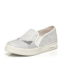 Teenmix/天美意春专柜同款白色绒布/牛皮女鞋AM431AM6