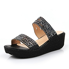 Teenmix/天美意夏季专柜同款亮片布女凉鞋6VA02BT6