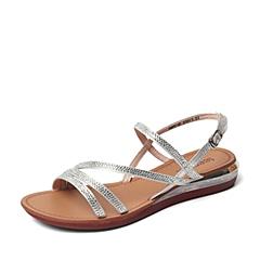 Teenmix/天美意夏季专柜同款银色织物/羊皮革女凉鞋AM90DBL6