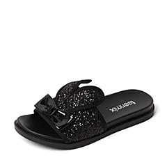 Teenmix/天美意夏季专柜同款黑色亮片布/漆皮牛皮革女拖鞋AM78DBT6