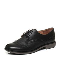Teenmix/天美意秋季专柜同款黑色打蜡牛/羊皮革女皮鞋6RY35CM6