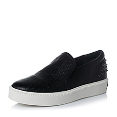 Teenmix/天美意秋专柜同款黑色牛皮革女单鞋6WG20CM6