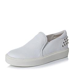 Teenmix/天美意秋专柜同款白色牛皮革女单鞋6WG20CM6