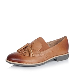 Teenmix/天美意秋专柜同款棕色牛皮革女单鞋6RY36CM6