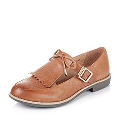 Teenmix/天美意秋季专柜同款棕色牛皮革女皮鞋6RY37CQ6
