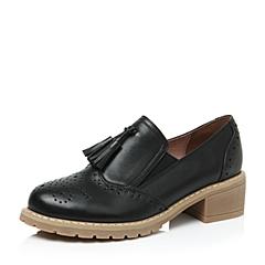 Teenmix/天美意秋黑牛皮革女单鞋66301CM6