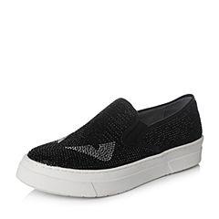 Teenmix/天美意2016秋黑色PU女单鞋575-2CM6