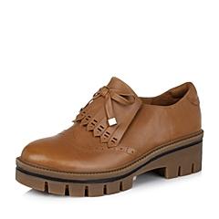 Teenmix/天美意秋棕色牛皮革女皮鞋10255CM6