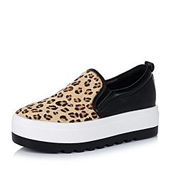 Teenmix/天美意秋棕/黑色女单鞋66608CM6