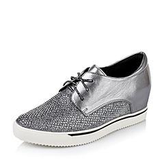 Teenmix/天美意秋季专柜同款银灰色羊皮/纺织品女单鞋6M125CM6