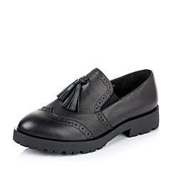 Teenmix/天美意秋季专柜同款黑色牛皮革女皮鞋6WW28CM6