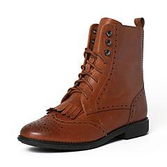 Teenmix/天美意冬季专柜同款棕色牛皮女靴6D463DZ6
