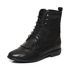 Teenmix/天美意冬季专柜同款黑色牛皮女靴6D463DZ6