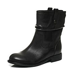 Teenmix/天美意冬季专柜同款黑色牛皮女中靴6S260DZ6