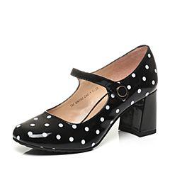 Teenmix/天美意秋季专柜同款黑色漆皮牛皮革女皮鞋6N102CQ6