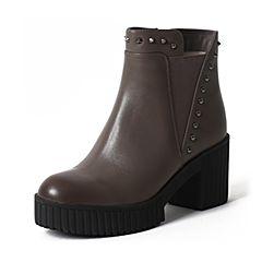 Teenmix/天美意冬季专柜同款灰色牛皮女靴6C544DD6