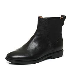 【11.11】Teenmix/天美意冬季专柜同款黑色牛皮女靴6D443DD6